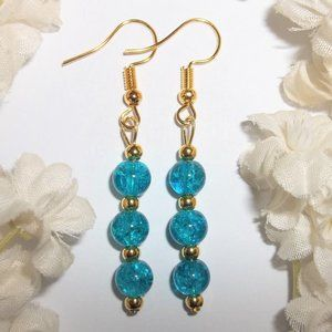 Dangle Earrings Turquoise Blue and Gold Drop 6447